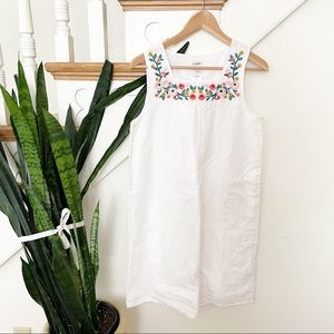 J.Crew white floral embroidered square neck dress